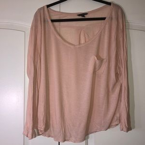 Peach long sleeve American eagle shirt